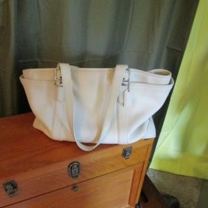 Coach White Leather Diaper Bag/Briefcase tote